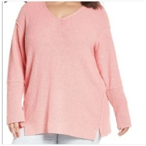 Caslon Boucle Tunic V Neck Sweater Plus Pink 3X